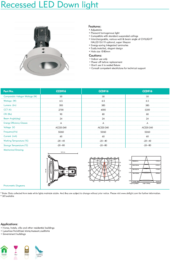Recessed LED Down Light Ø80